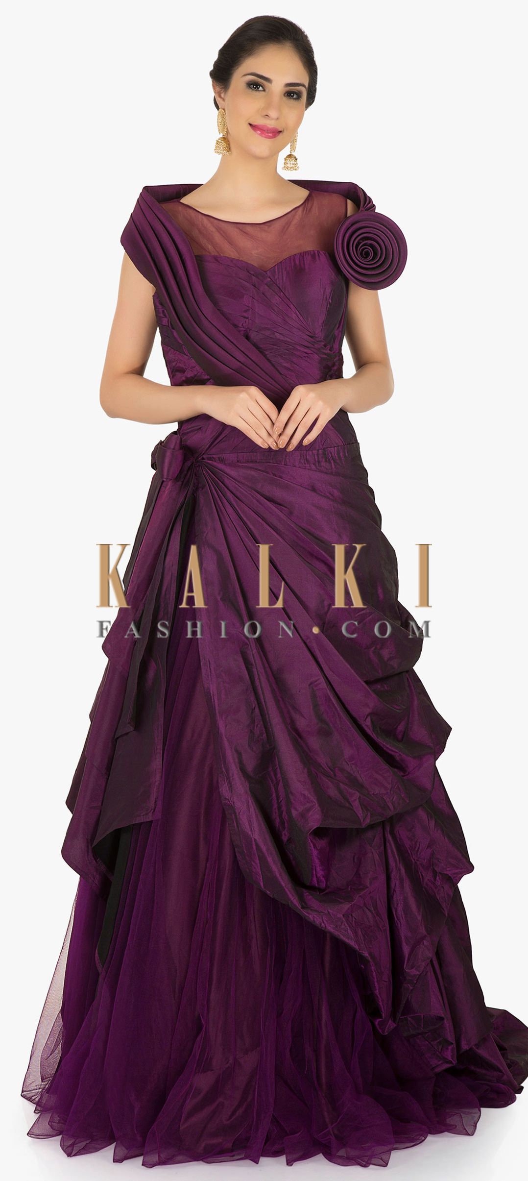 Buy Online from the link below. We ship worldwide (Free Shipping over  US 100) Click Anywhere to Tag Purple gown in satin silk displaying the rose  and bow ... f0ac5e28941b