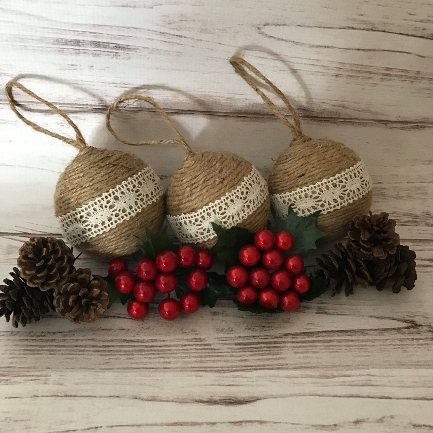 Rustic Christmas Ornaments, Twine Christmas Ornaments