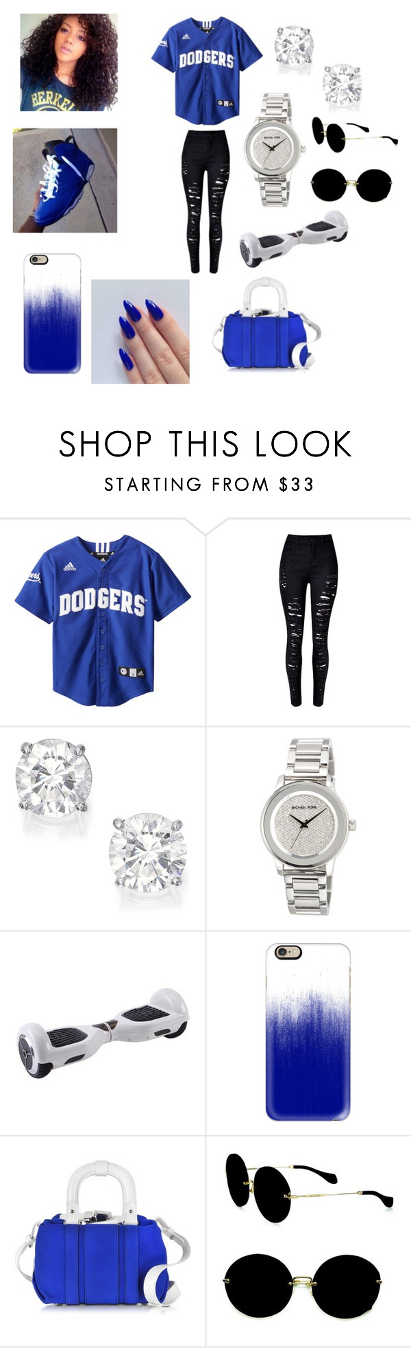 """Dodgers All Day"" by zyriajones ❤ liked on Polyvore featuring MICHAEL Michael Kors, Casetify, Carven and Miu Miu"