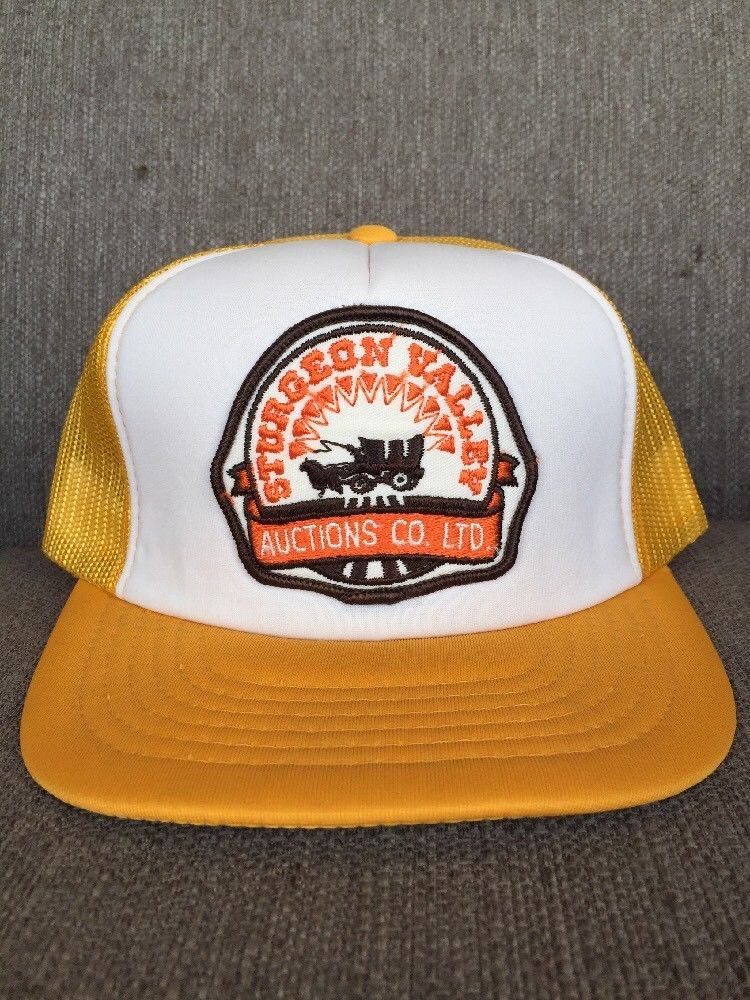 Vtg Sturgeon Valley Auctions Snap Back Trucker Hat 1980's Alberta Canada AB  | eBay