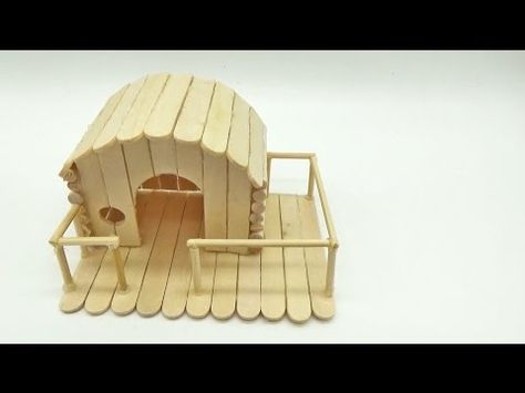 How To Make Popsicle Stick House For Hamster Mini House Youtube Popsicle Stick Crafts House Popsicle Stick Houses Pop Stick Craft