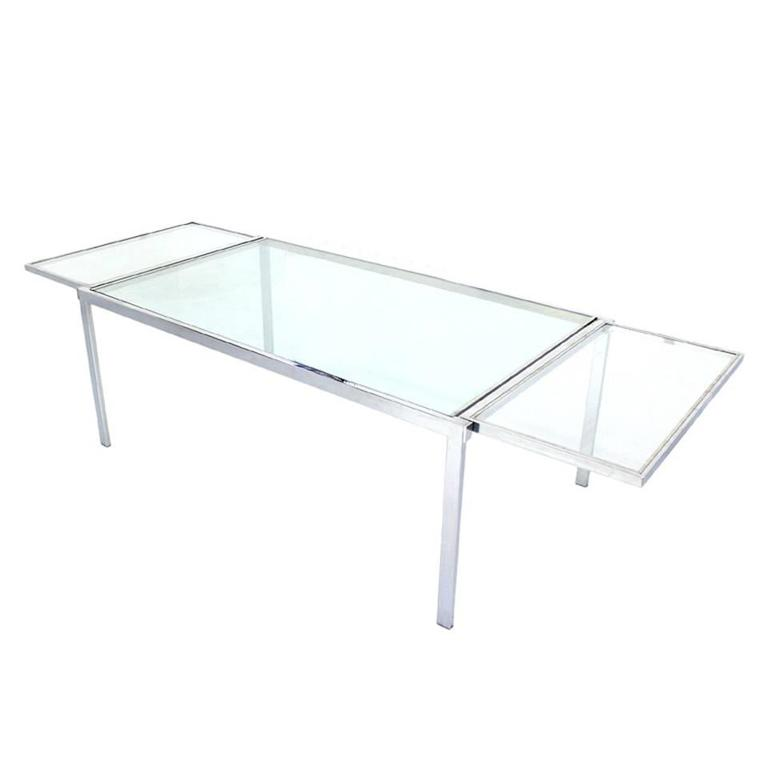 Chrome Glass Dining Conference Table With Drop Leaf Extensions Self