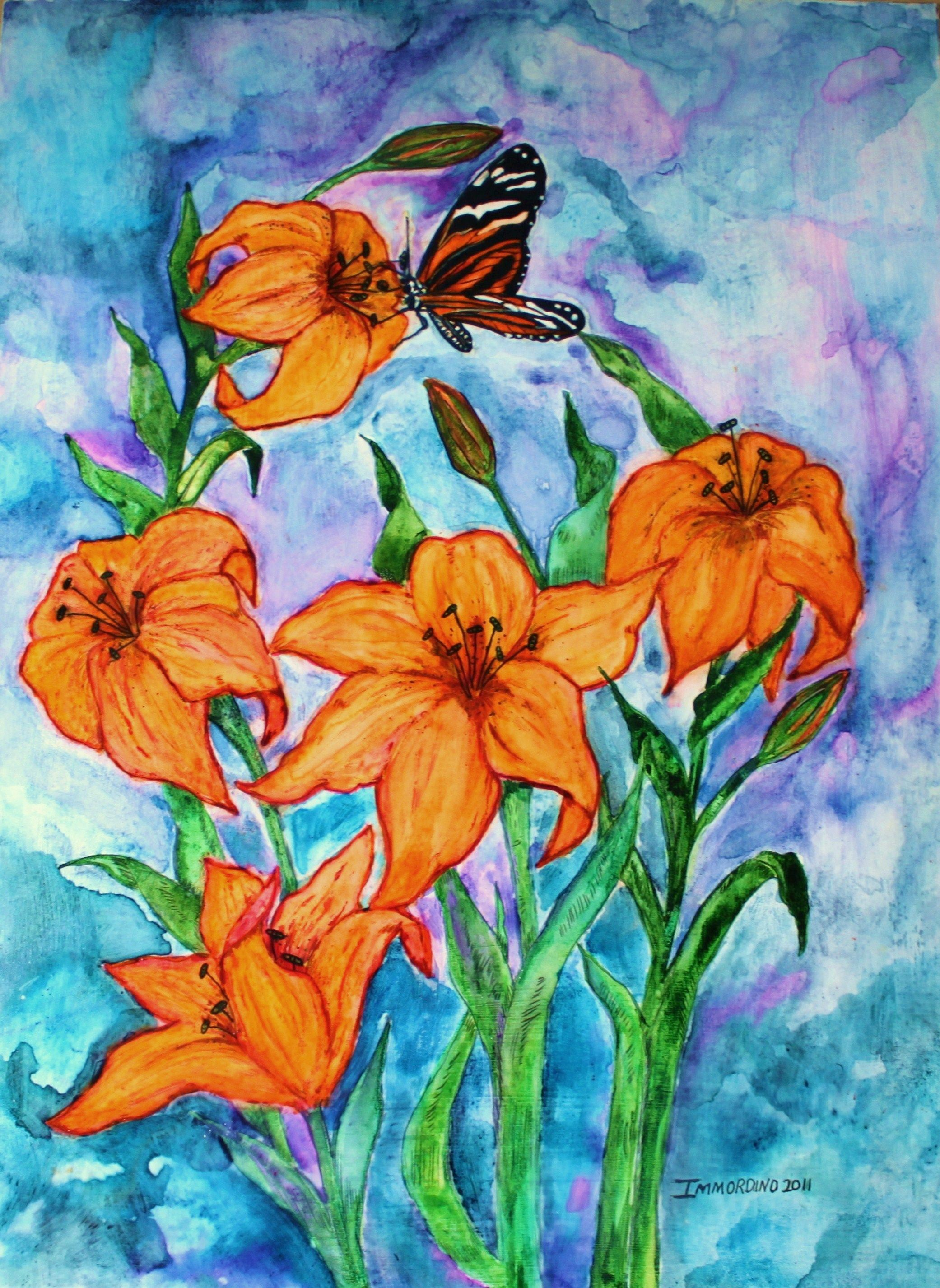 O tiger lily watercolor acrylic pen ink 12x16 illustration o tiger lily watercolor acrylic my favorite flower izmirmasajfo