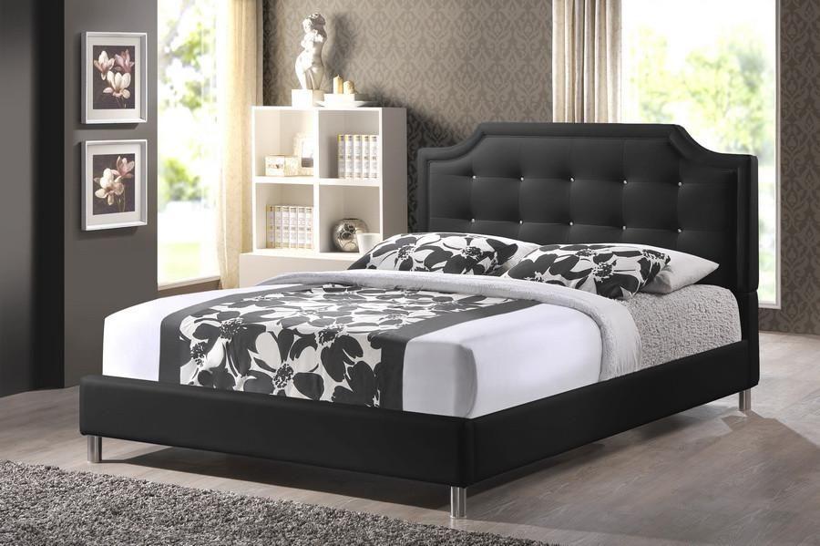 Baxton Studio Carlotta Black Bed W Upholstered Headboard Queen