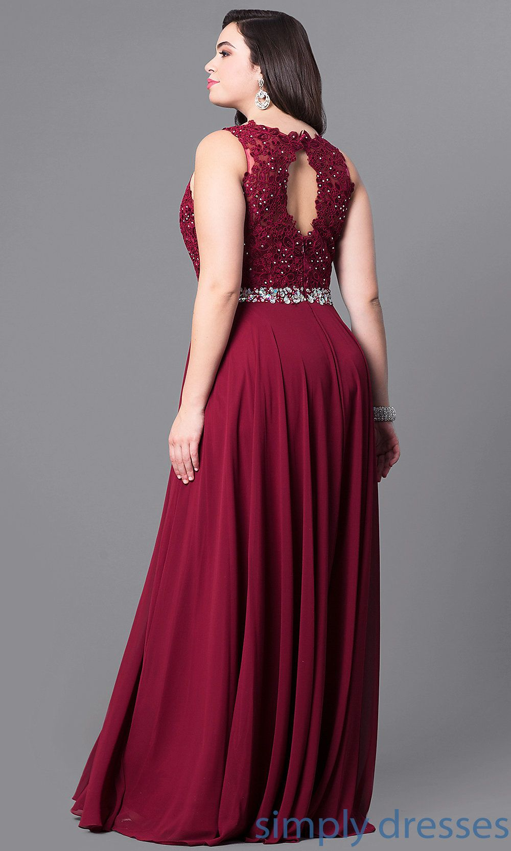 9ba6cce867 Shop plus-size long prom dresses at Simply Dresses. Formal evening dresses  under $200 with sleeveless illusion-lace bodices and jeweled waists.