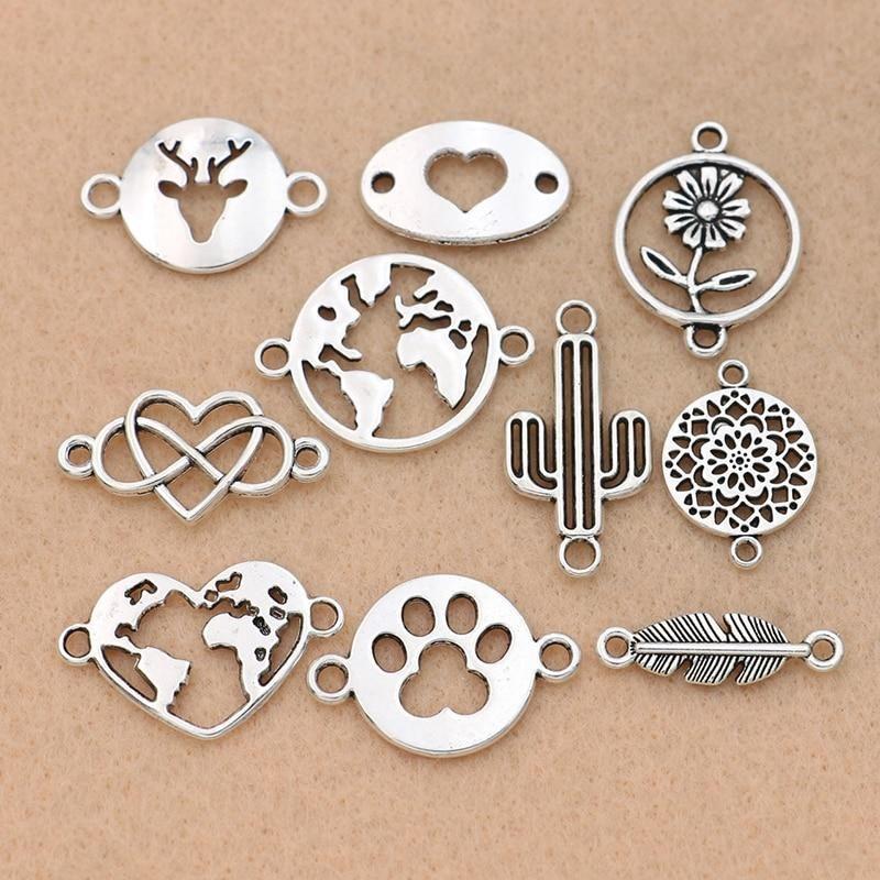 10Pcs Silver Plated Wine Bottle Charms Pendants For DIY Bracelet Craft Making