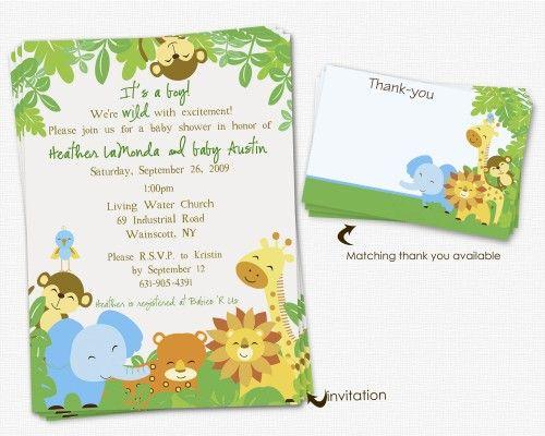 Printable Safari Baby Shower Invitations ElizaTate Digital Art
