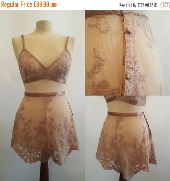 2206be4a9 Handmade Champagne Lace French Knicker Set. Designed