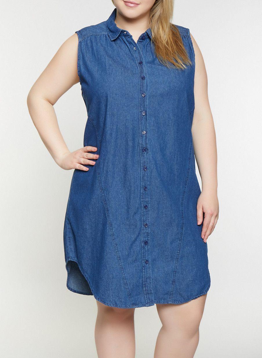 84de4046a30 Plus Size Sleeveless Denim Shirt Dress - Blue - Size 1X in 2019 ...