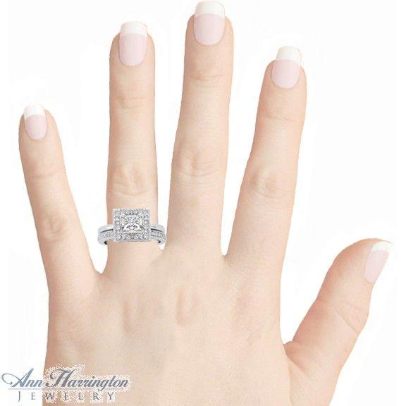 14k Gold or Platinum 12 ct tw Princess Cut Diamond Antique Style