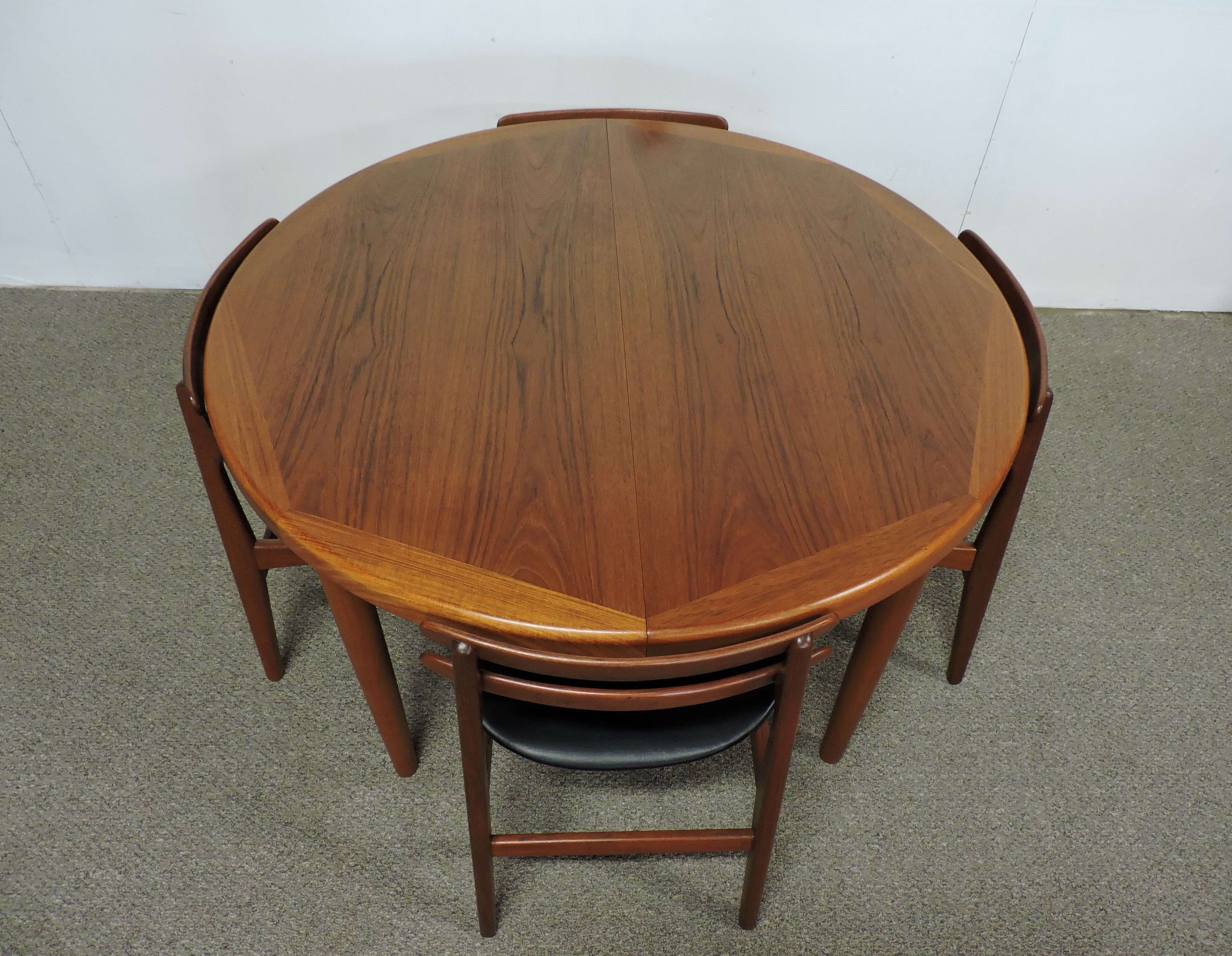 Danish Modern Vejle Stole Teak Extendable Dining Table And Four