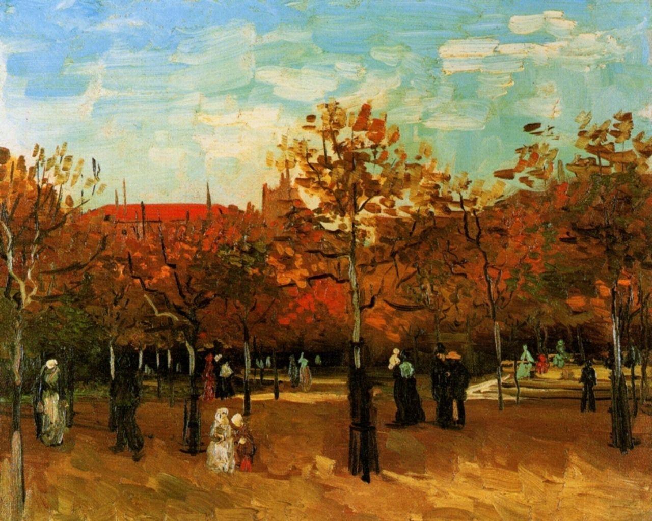The Bois De Boulogne With People Walking 1886 Vincent Van Gogh Medium Oil On Canvas Van Gogh Art Van Gogh Landscapes Gogh