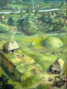 Caddo village scene, by Ed Martin