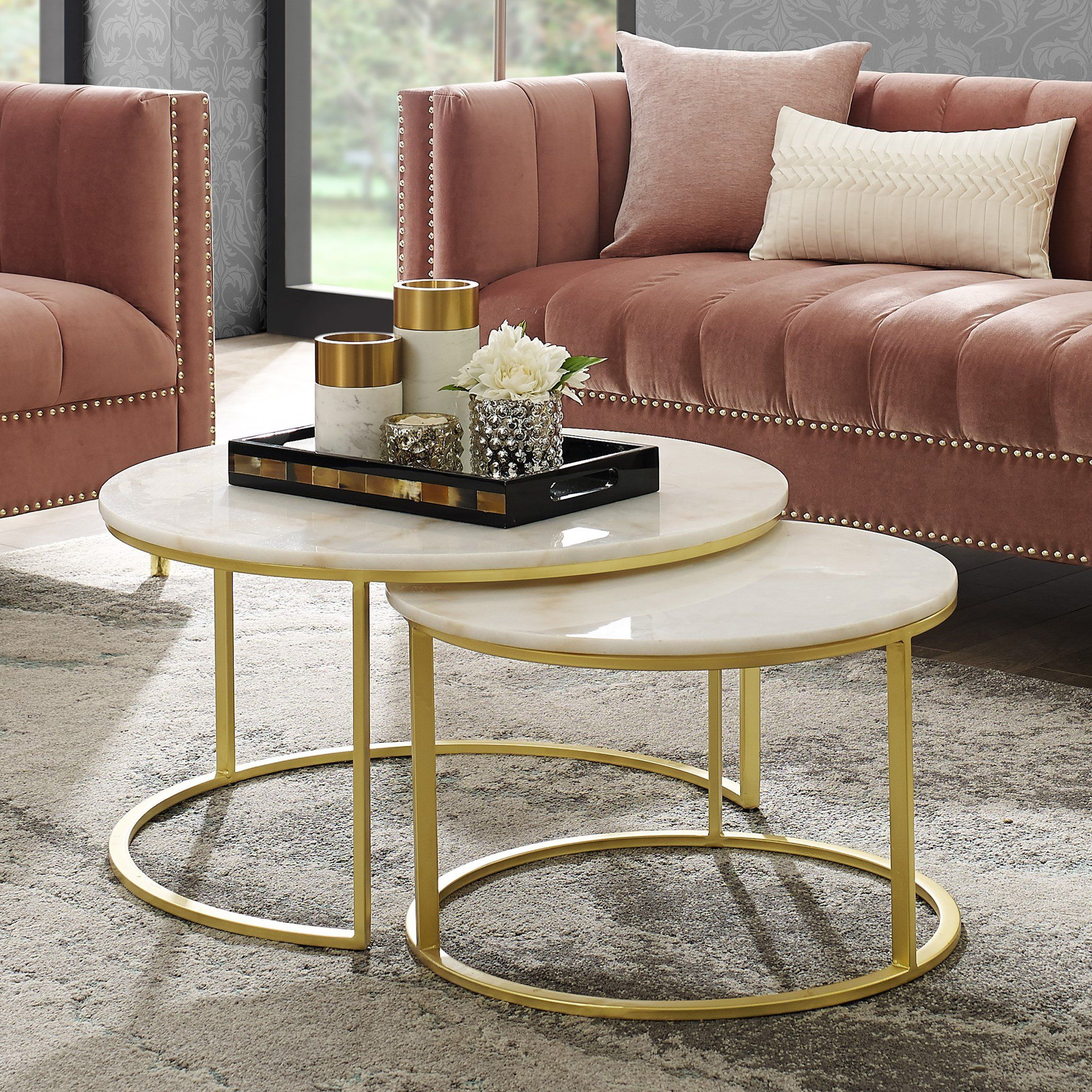 Irene Round Top Nesting Coffee Table In 2020 Coffee Table Nesting Coffee Tables Gold Coffee Table [ 2304 x 2304 Pixel ]