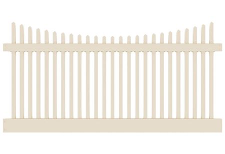 4 H X 8 W Wharton Creek Picket Classic Scallop Beige Package Features 2 X 6 Bottom Rail And 2 X 3 12 Fence Panels Vinyl Fence Panels White Vinyl Fence