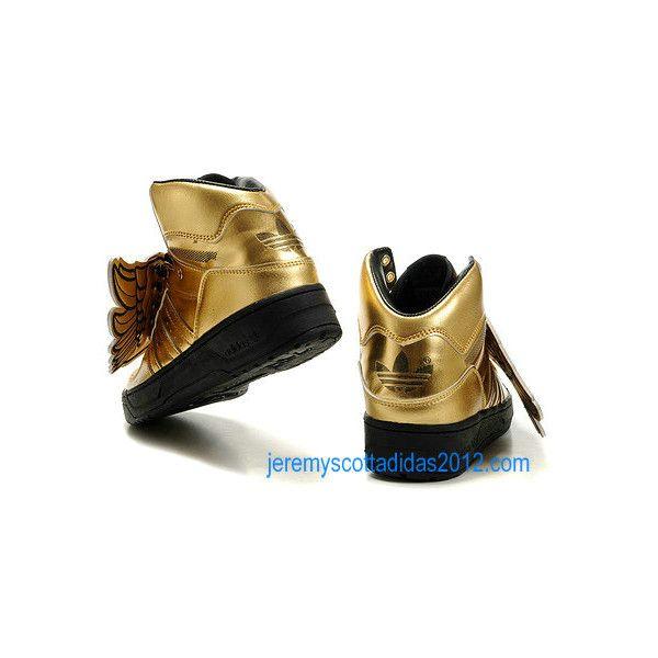 Cheap Wholesale Womens Jeremy Scott JS Wings 2.0 Gold Adidas Shoes... via  Polyvore 54be0dc602