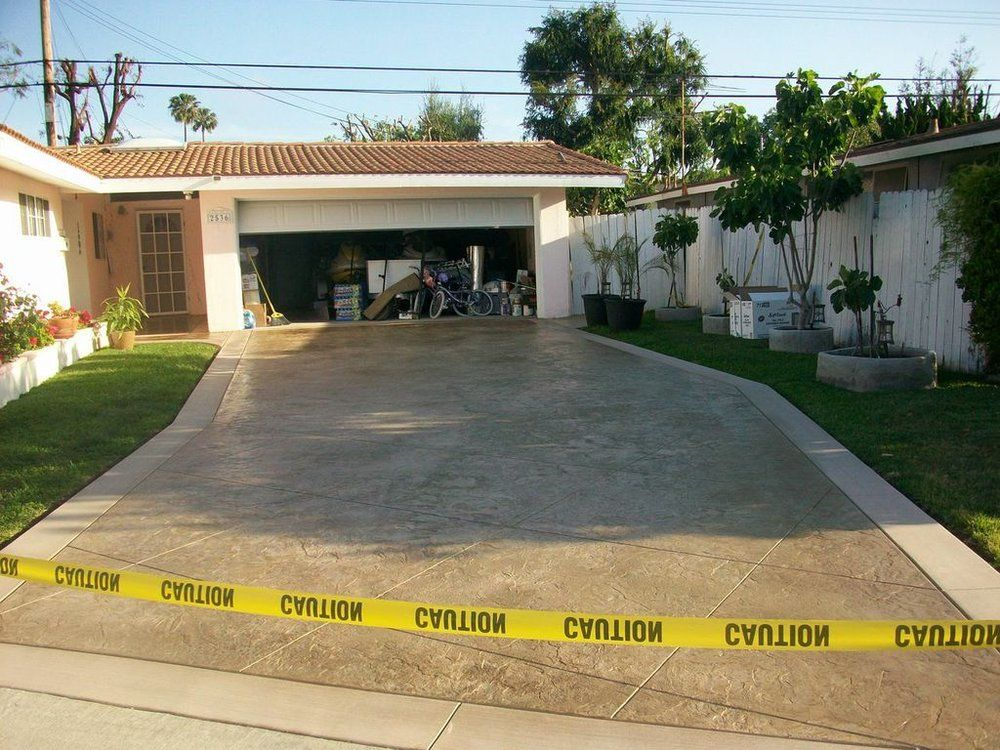 The Construction Guyz Stamped Concrete San Diego Buff Colored Driveway Huntington Beach Ca United States Stamped Concrete Backyard Construction