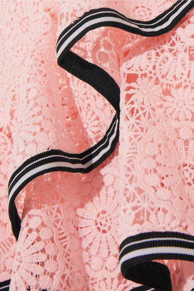 Courtside Off-the-shoulder Ruffled Guipure Lace Mini Dress - Pastel pink Rebecca Vallance HvYVPTv6eK