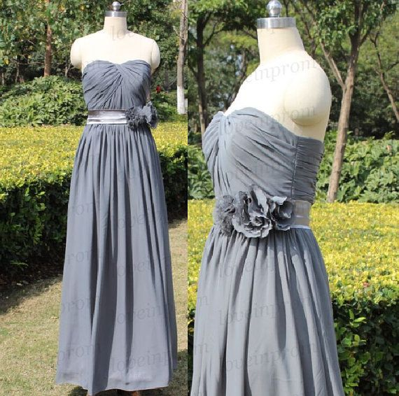 Gray Evening Dress,Gray Long Prom Dress,Sweetheart Bridesmaid Dress,Handmade Chiffon Wedding Party Dress    Rush order link :