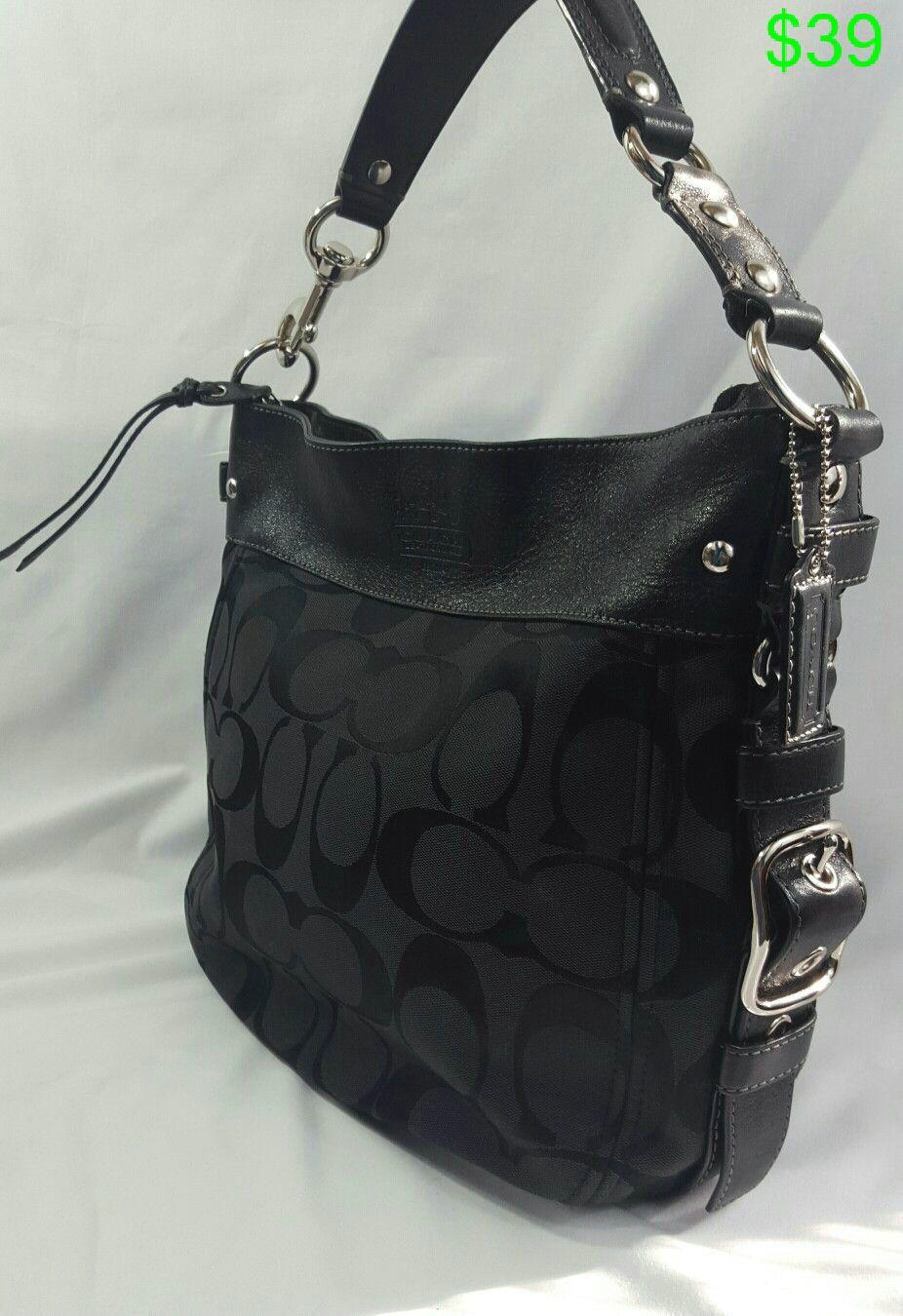 deed601bae07 Coach Black Signature Hobo Shoulder Bag