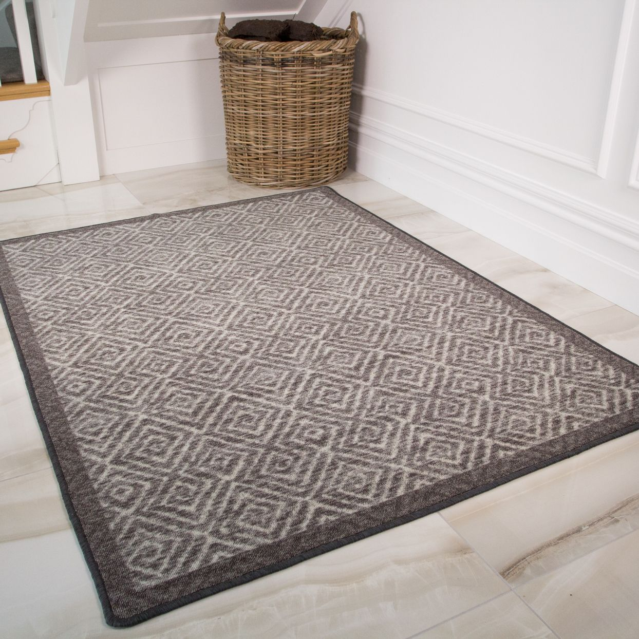 Grey Non Slip Geometric Kitchen Bathroom Rug Mat Rugs Washable Rugs Perfect Rug