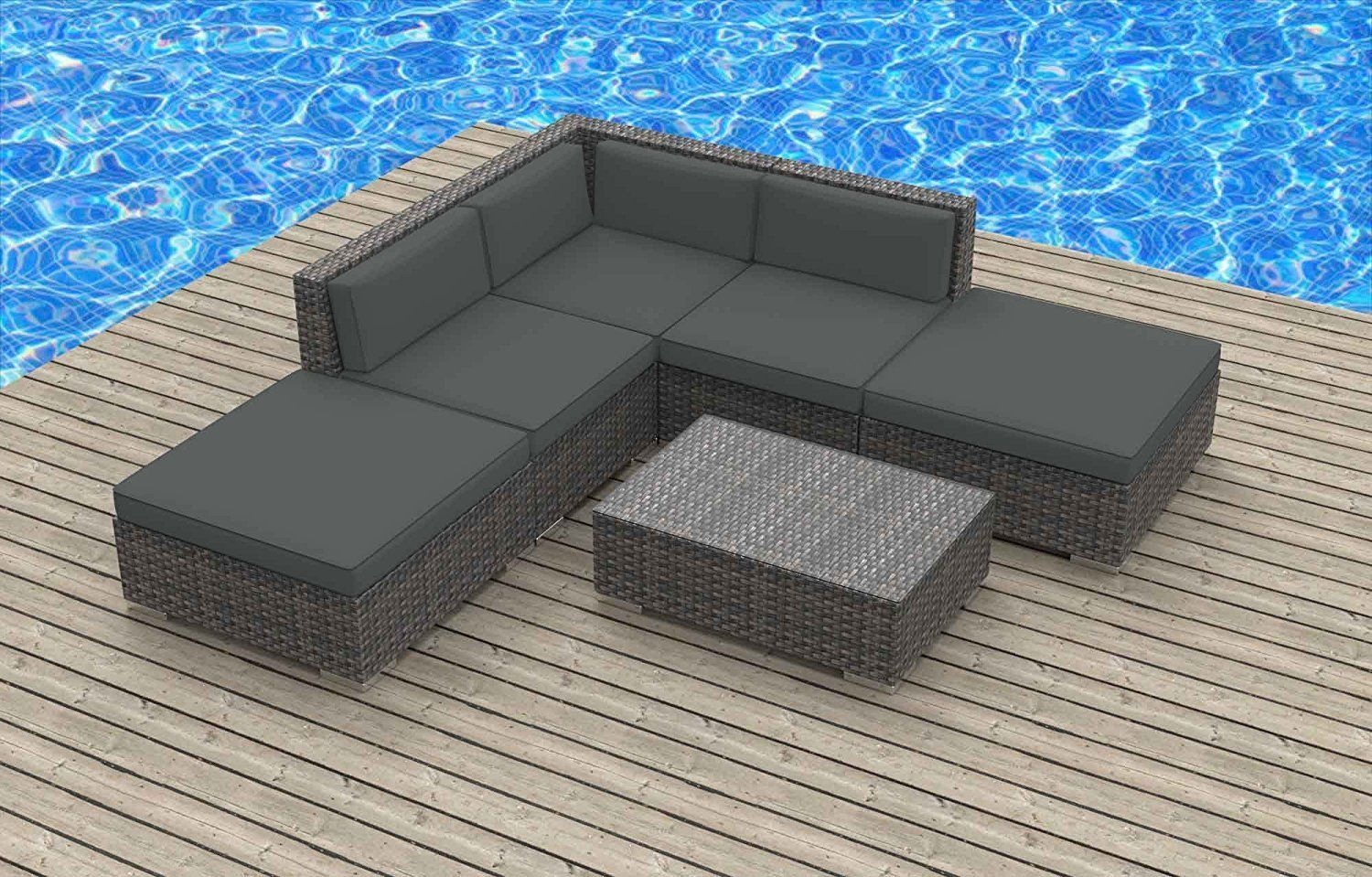 Urban furnishing bali 6pc modern outdoor wicker patio furniture modular sofa sectional set fully assembled charcoal gray more info could be found at the