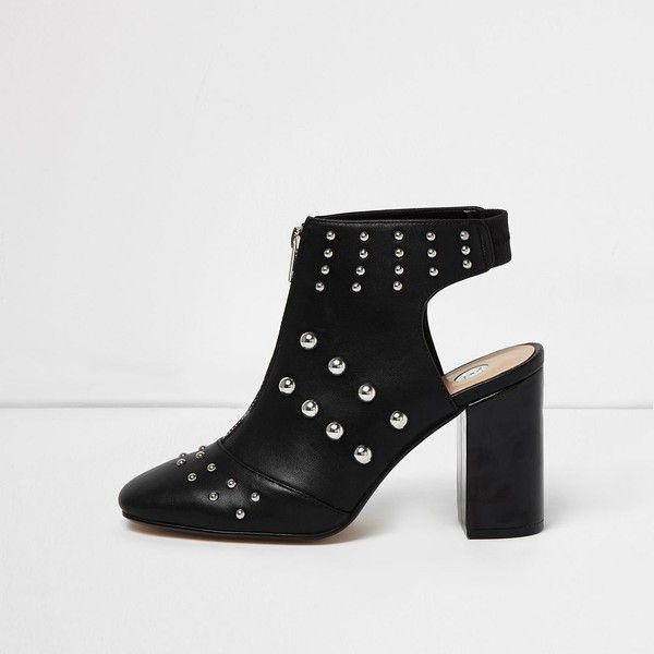 River Island Black leather look studded shoe boots ($71) ❤ liked on Polyvore featuring shoes, boots, ankle booties, vegan boots, studded booties, black studded booties, zippered faux leather booties and black high heel ankle booties