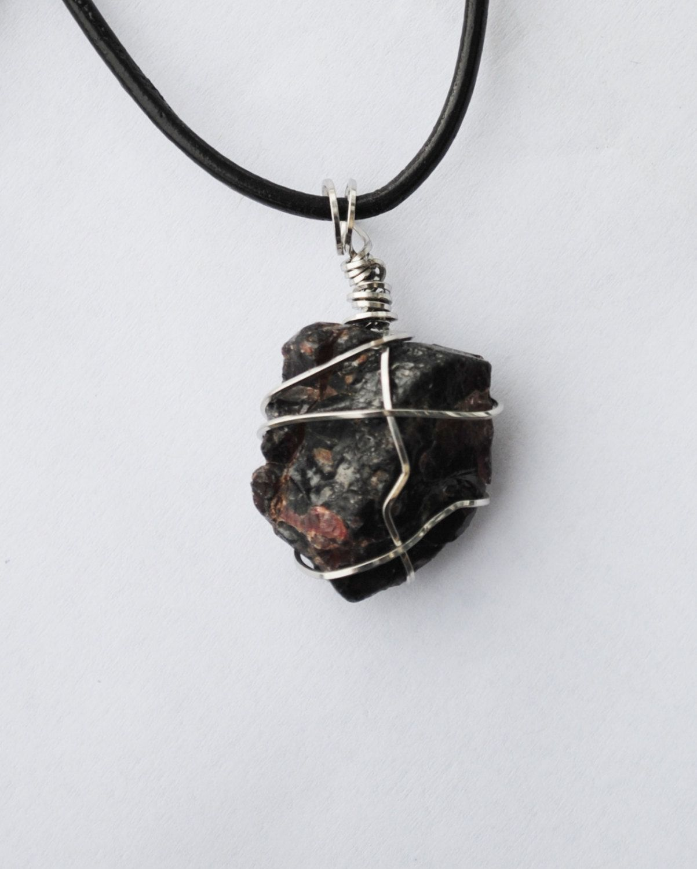 raw garnet necklace; wire wrapped garnet; january birthstone; wire ...