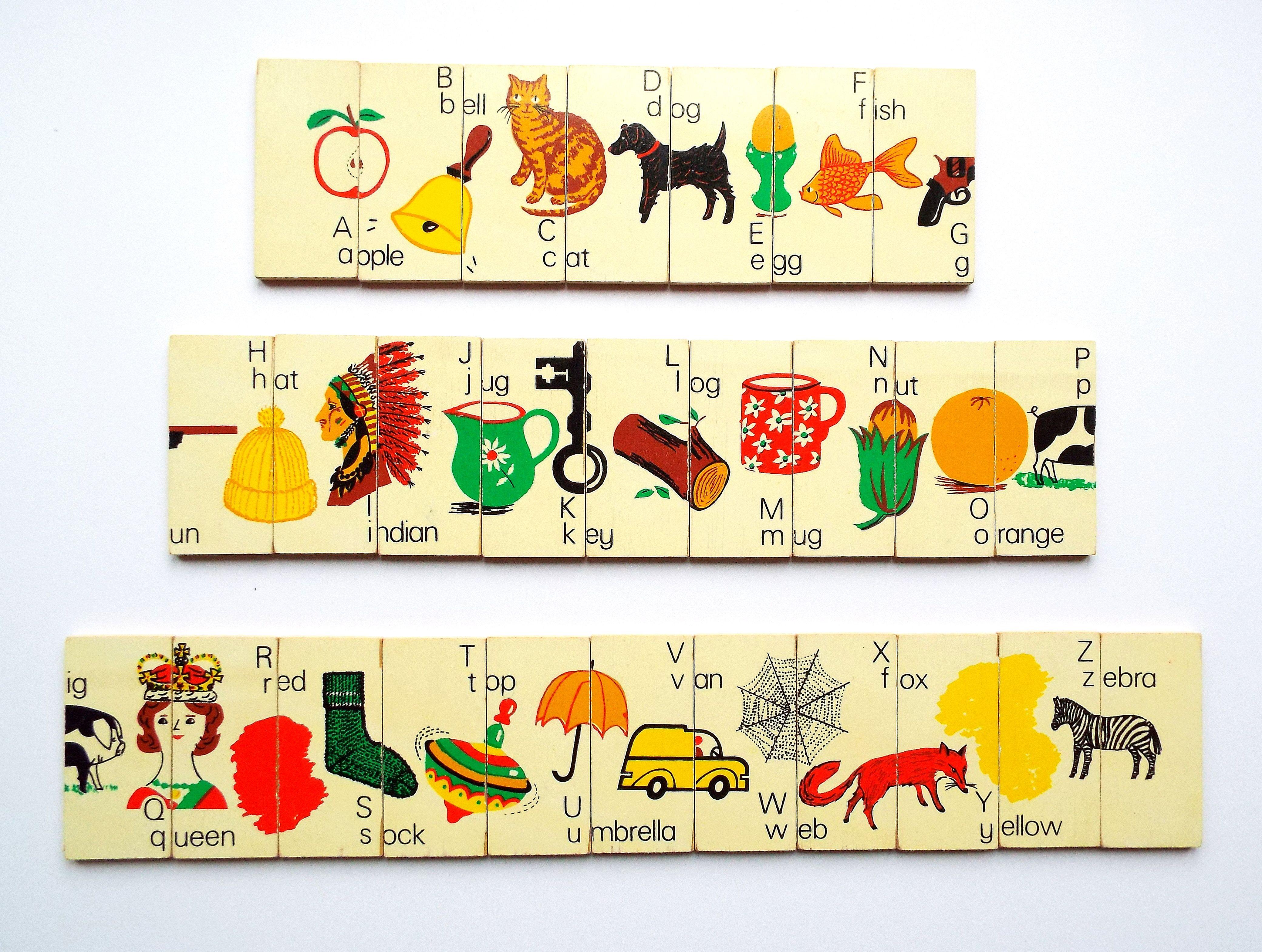 Vintage Galt Toys Alphabet Plaques 1970 1980 Alphabet