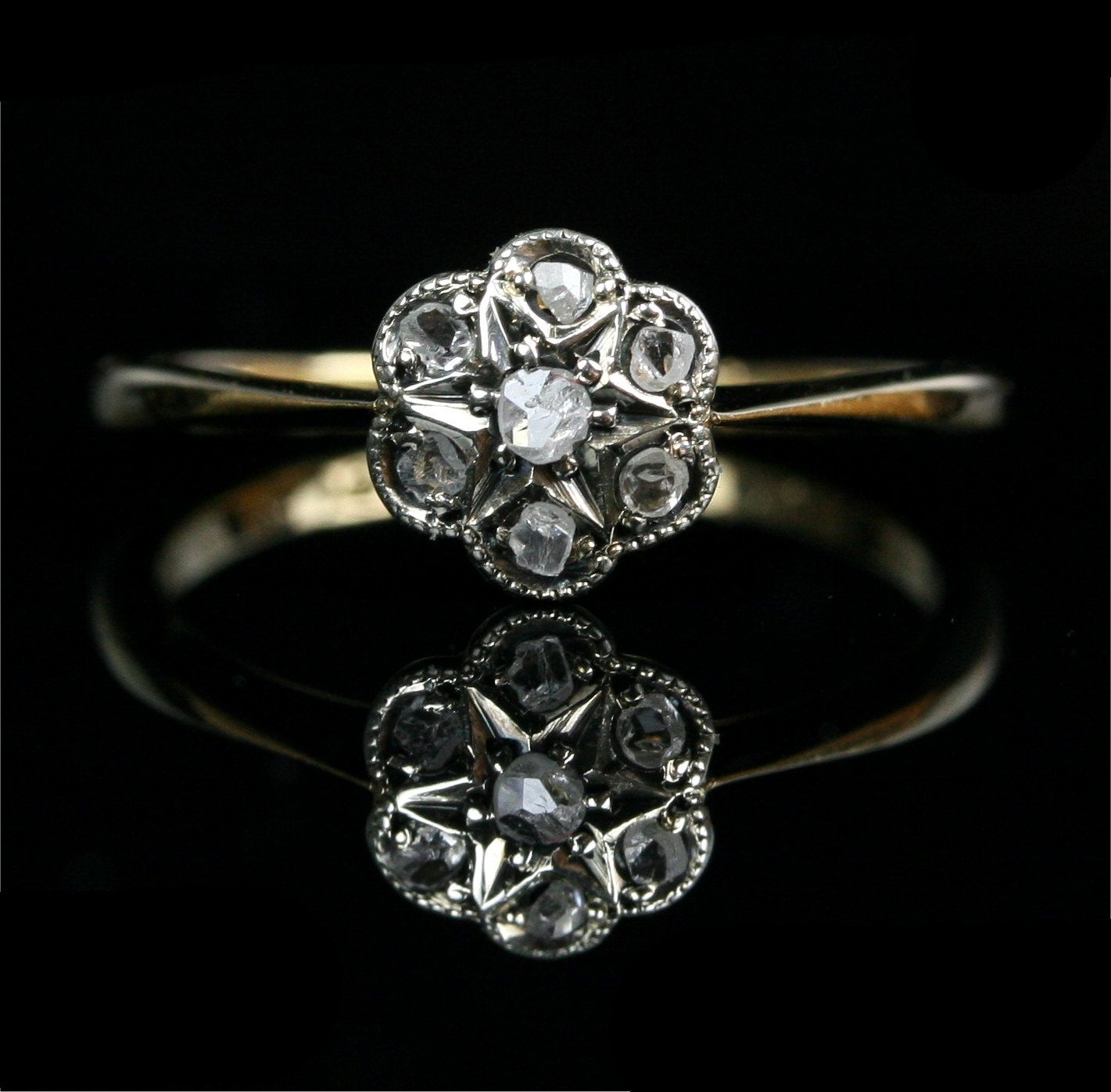 Edwardian 18k Gold Rose Cut Diamond Flower Cluster Engagement Ring