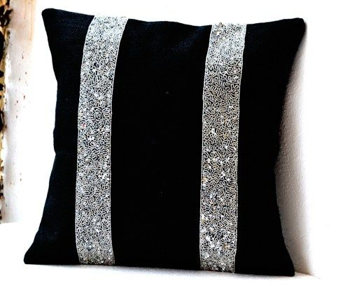 black burlap silver sequin stripes decorative pillow silver sequin th - Black Decorative Pillows