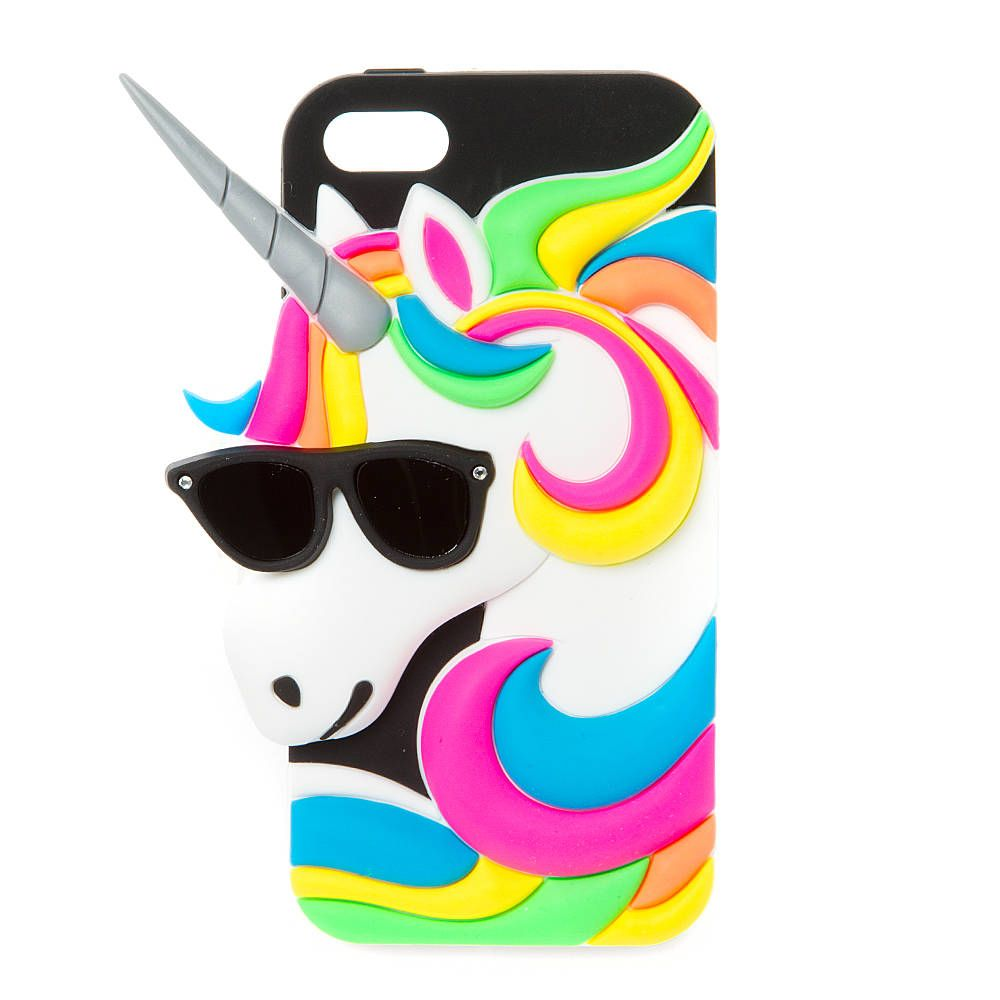 Silicone Unicorn with Sunglasses Cover for iPhone 5, 5s and 5c ...
