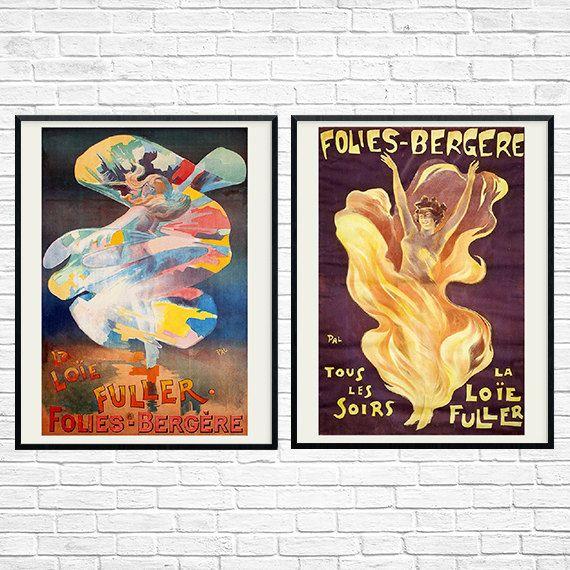 French Vintage Folies Bergere print Art Nouveau by RetroPostersToo