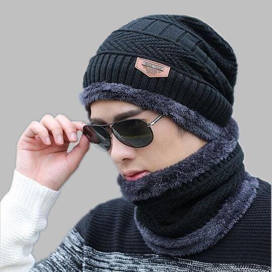 59f620e1f oZyc Balaclava Knitted hat scarf cap neck warmer Winter Hats For Men ...