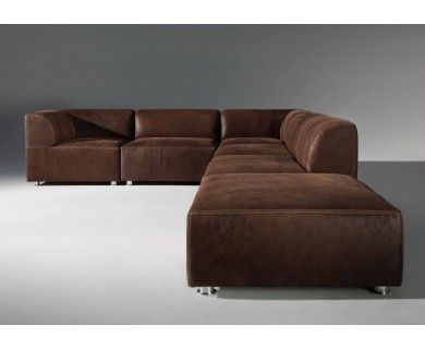 Canape D Angle Modulable Cuir Marron Vieilli Iowa Sofa Couch Sectional Couch