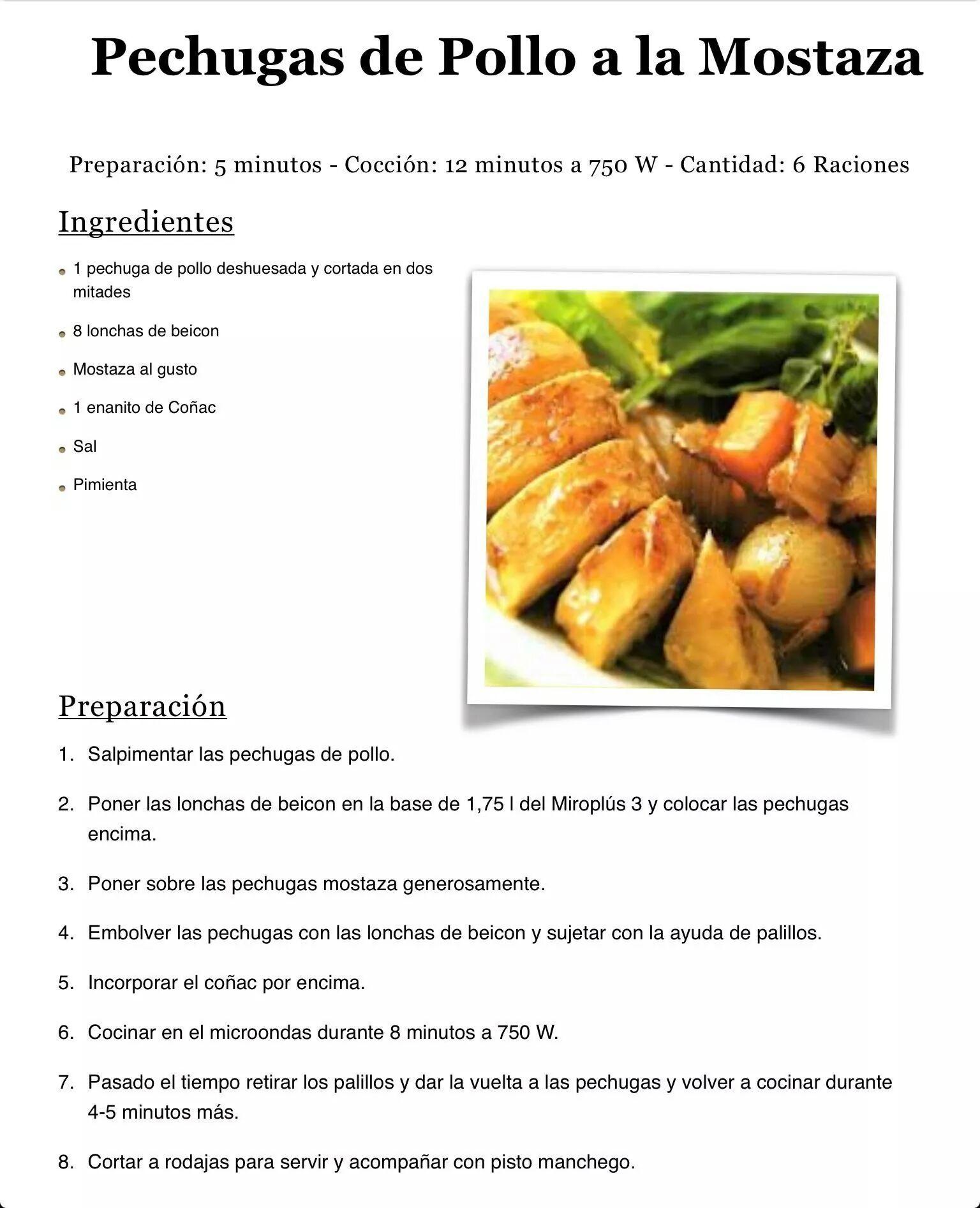 Pechugas De Pollo A La Mostaza Recetas De Comida Fáciles Recetas De Comida Pechuga De Pollo