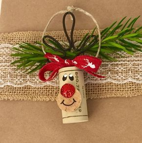 Every bottle of wine you give as a gift needs these adorable wine cork ornaments! This set of 6 wine cork ornaments is 100% handmade with recycled synthetic wine corks. Youll receive 3 Rudolph and 3 Snowman wine cork ornaments. The Rudolph ornaments are approximately 4 inches tall from the top of his hand bent wire antlers to the bottom of the cork. His nose is painted and adorned with red glitter that really sparkles in the light. The red and white antler ribbon tied in a bow on top really ... #ribbononchristmastreeideas
