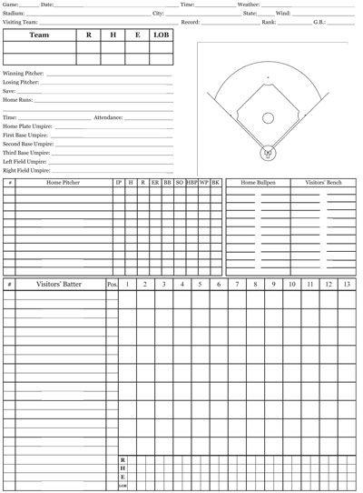 DH-scorecard Baseball Scorecards Pinterest Baseball games - baseball score sheet