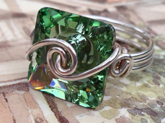 Wire wrapped Sterling Silver Square Swarovski by CrystalBaubles, $27.95
