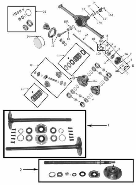 Cherokee XJ Dana 35 Rear Axle Parts (1984-01) Exploded View ...