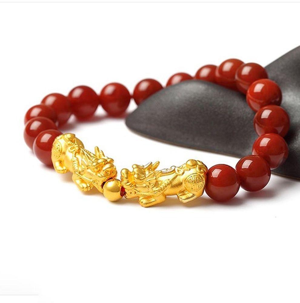 New pure k yellow gold bracelet d mm lucky pixiu u mm bead