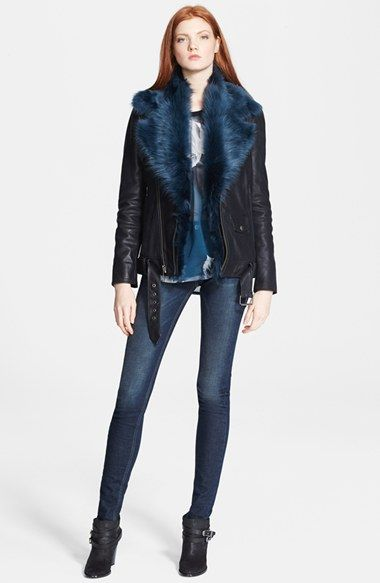 BLK DNM Leather Moto Jacket with Detachable Genuine Shearling Collar available at #Nordstrom
