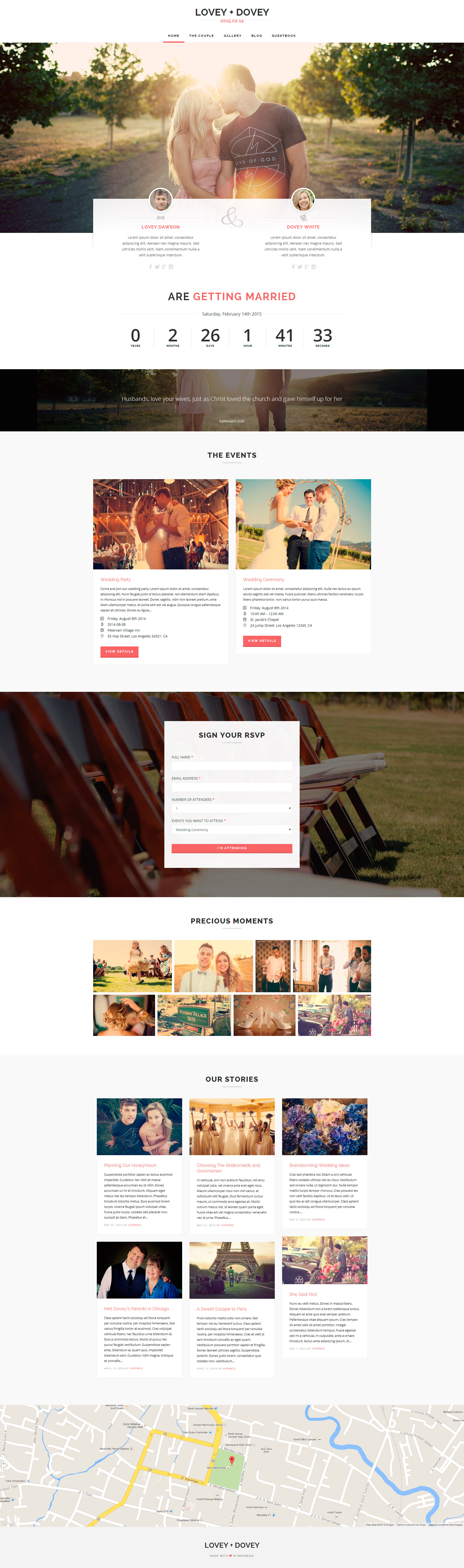 Lovey Dovey - Responsive WordPress Wedding Theme | Wordpress wedding ...