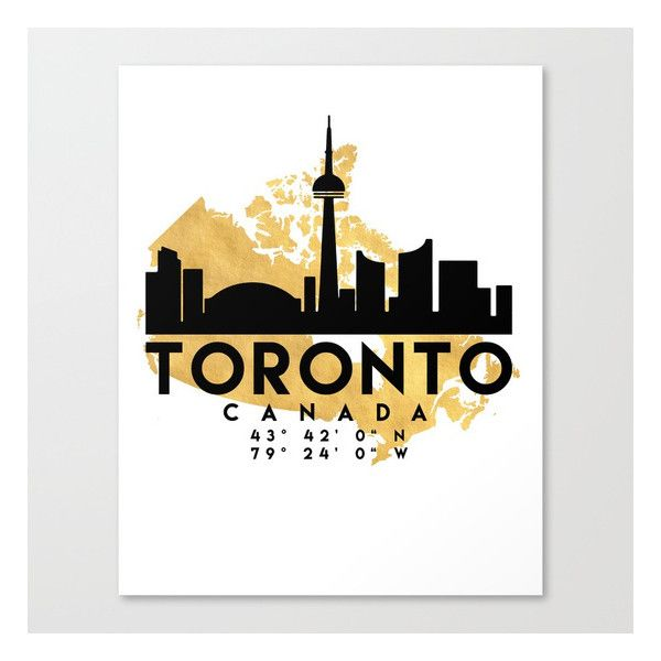 TORONTO CANADA SILHOUETTE SKYLINE MAP ART Canvas Print ($94