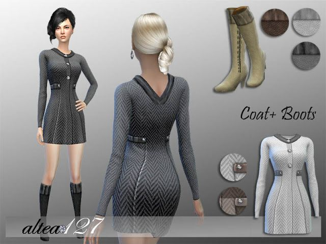 Sims 4 CC's - The Best: Alexia Coat and Boots by Altea