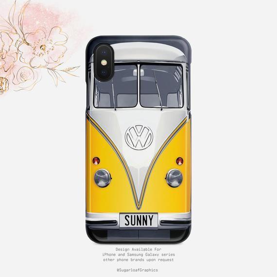 Yellow Volkswagen bus iphone case