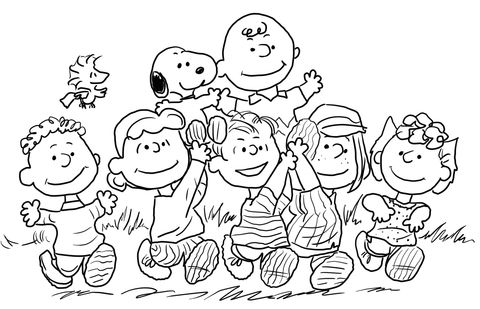 Snoopy With The Peanuts Gang Coloring Page Malvorlagen Halloween