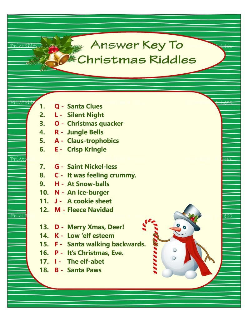 Christmas Riddle Game DIY Holiday Party Game Printable