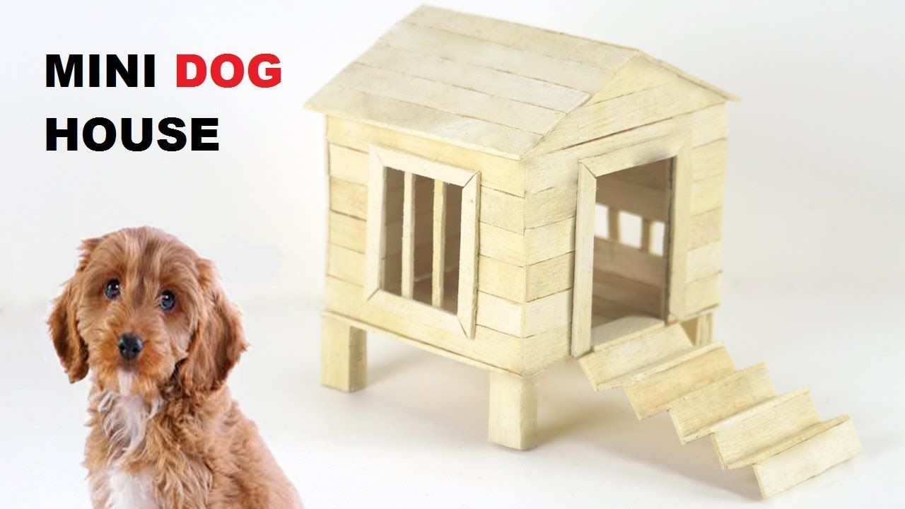 How To Make Popsicle Stick Mini Dog House Ice Cream Stick Dog