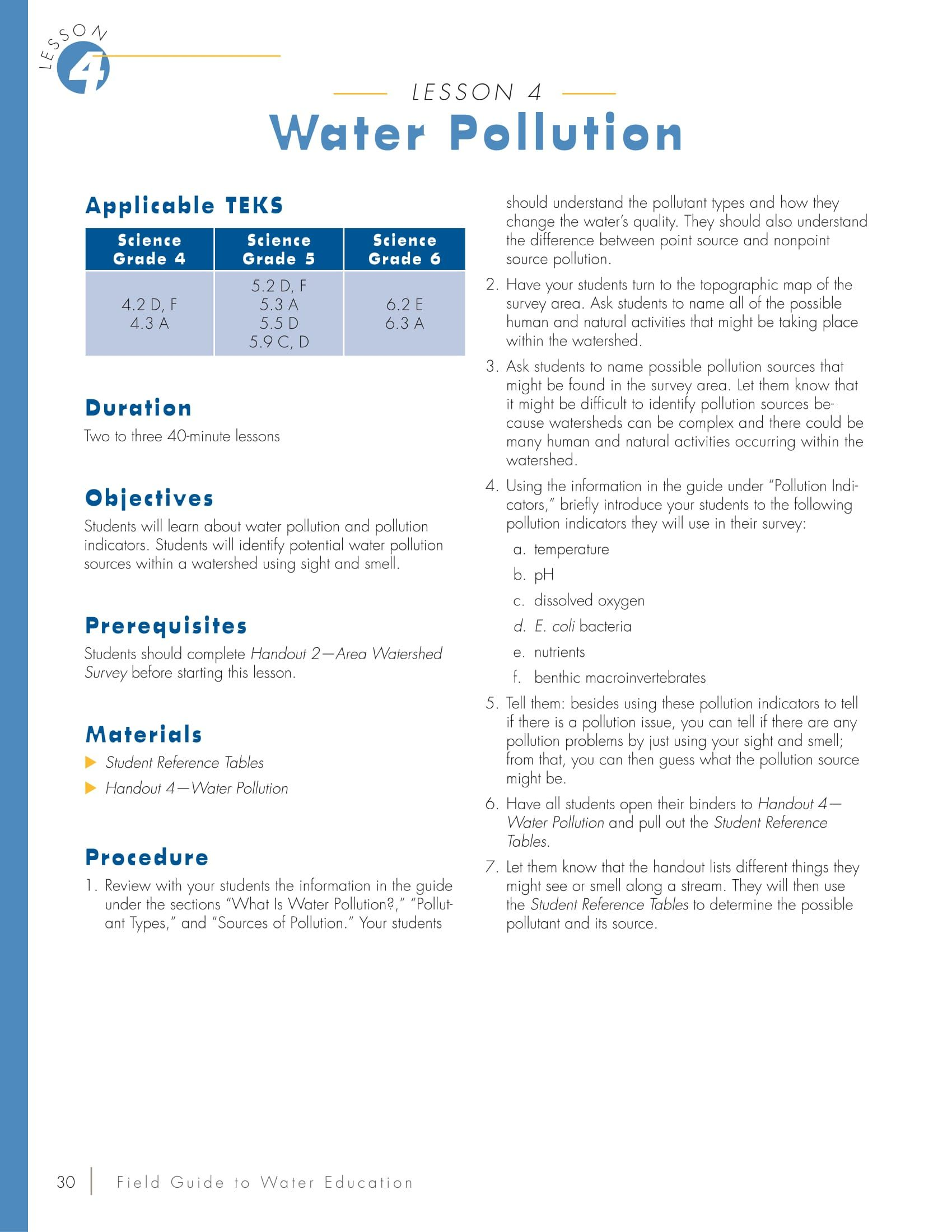 Water Pollution Lesson Plan
